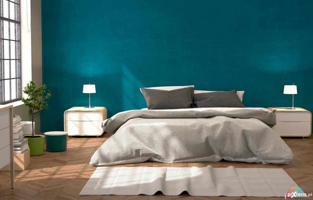 Morski kolor ściany w sypialni