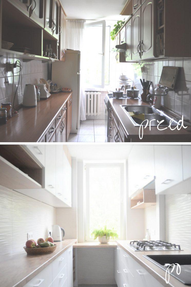 metamorfoza wąskiej kuchni przed i po