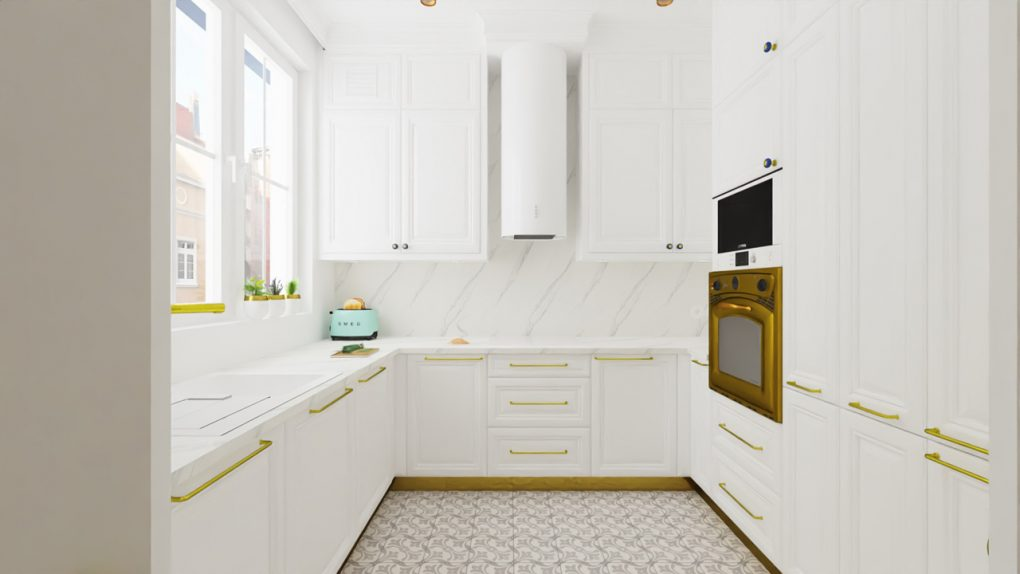 Biała, klasyczna kuchnia, blat catalacta okap tuba