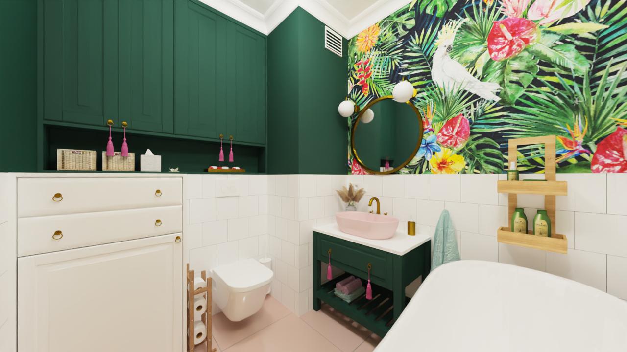 Łazienka z zilonymi szafkami, różowa umywalka, tapeta w papugi