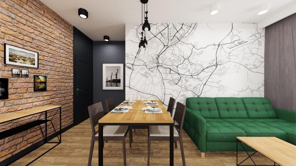 fototapeta z mapą, zielona sofa welurowa, stół industrialny, cegła